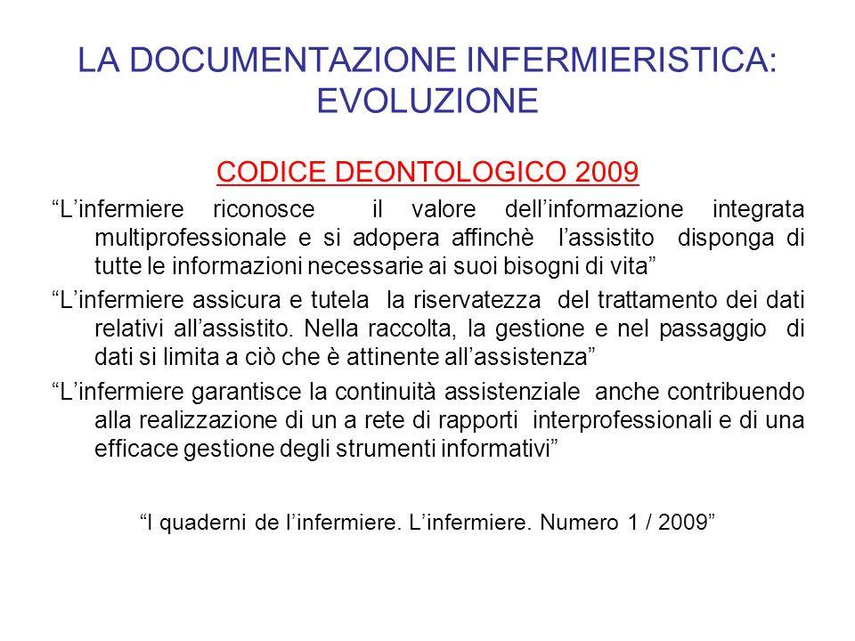 LA DOCUMENTAZIONE INFERMIERISTICA: EVOLUZIONE