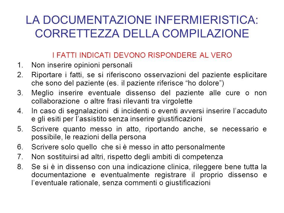 LA DOCUMENTAZIONE INFERMIERISTICA: CORRETTEZZA DELLA COMPILAZIONE