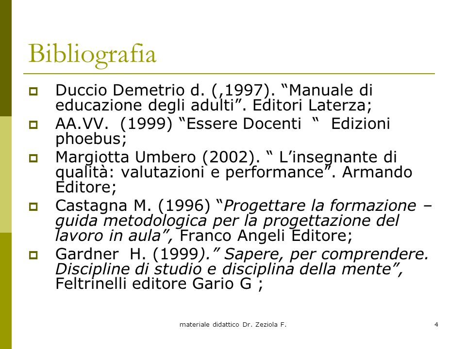 materiale didattico Dr. Zeziola F.