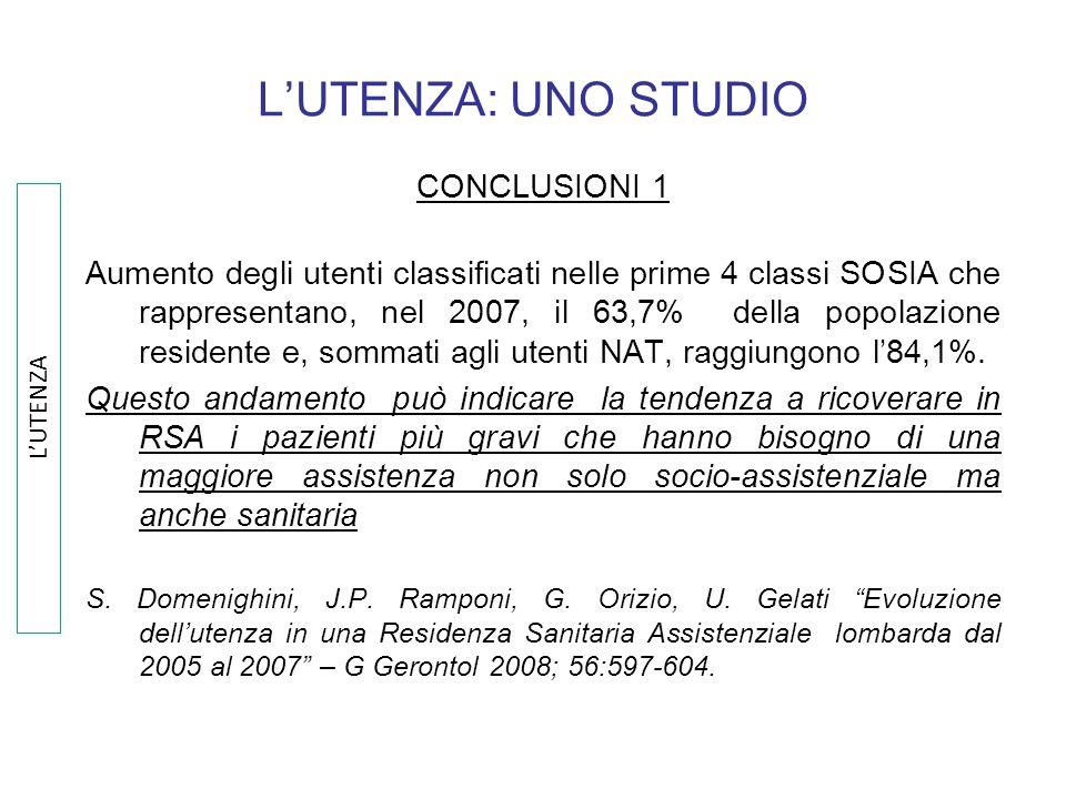 L'UTENZA: UNO STUDIO CONCLUSIONI 1