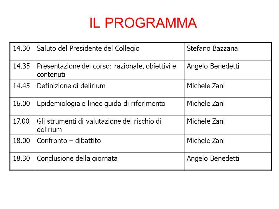 IL PROGRAMMA 14.30 Saluto del Presidente del Collegio Stefano Bazzana