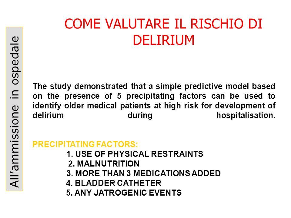 COME VALUTARE IL RISCHIO DI DELIRIUM