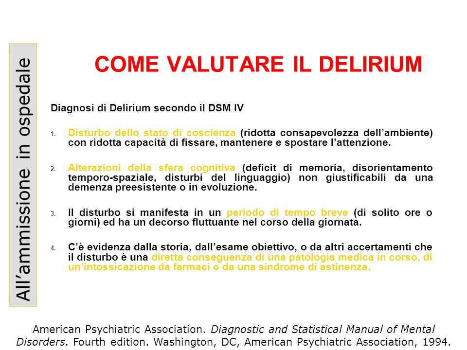 COME VALUTARE IL DELIRIUM