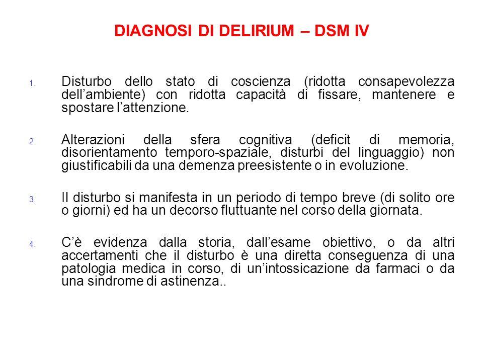 DIAGNOSI DI DELIRIUM – DSM IV