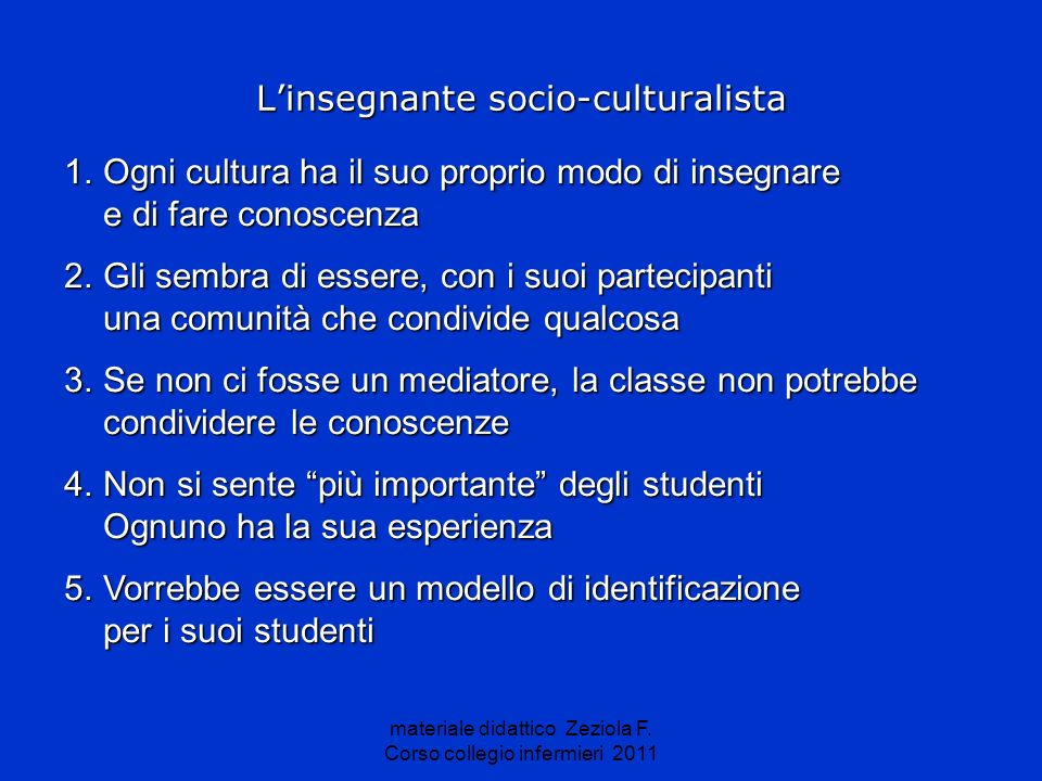 L'insegnante socio-culturalista