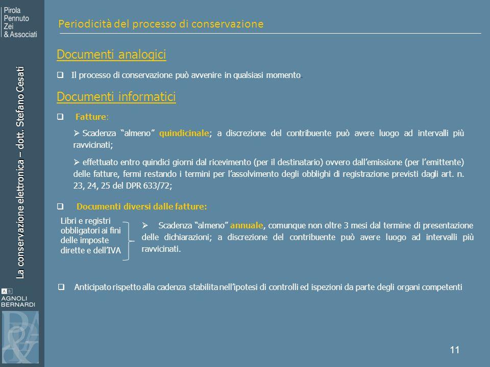 Periodicità del processo di conservazione