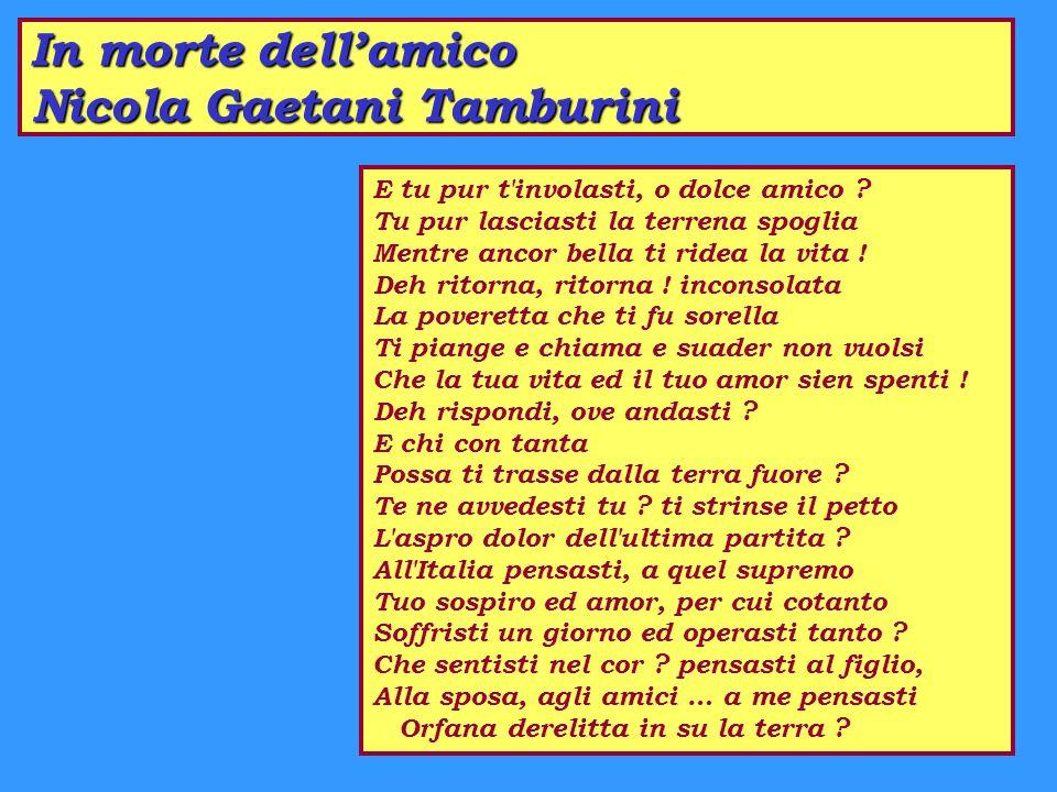 In morte dell'amico Nicola Gaetani Tamburini
