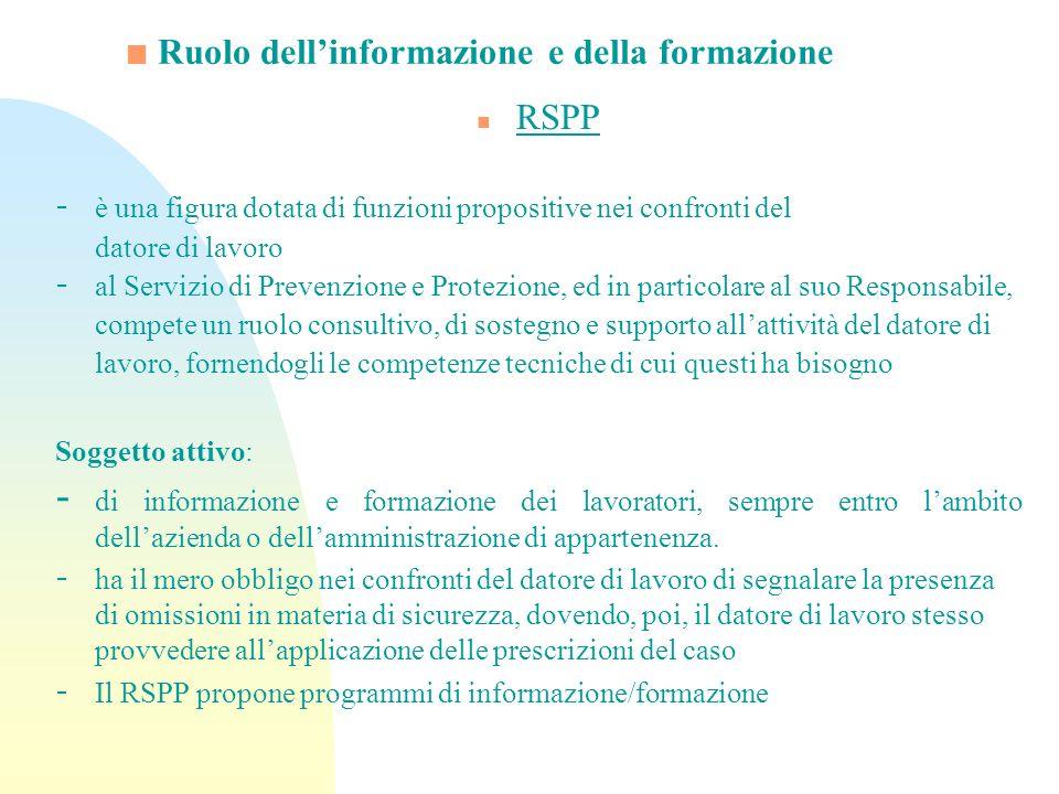 Ruolo dell'informazione e della formazione