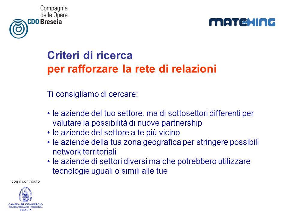 Criteri di ricerca per rafforzare la rete di relazioni