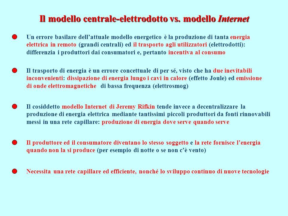 Il modello centrale-elettrodotto vs. modello Internet