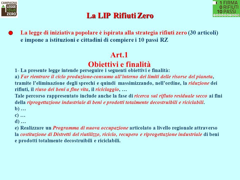 La LIP Rifiuti Zero Art.1 Obiettivi e finalità