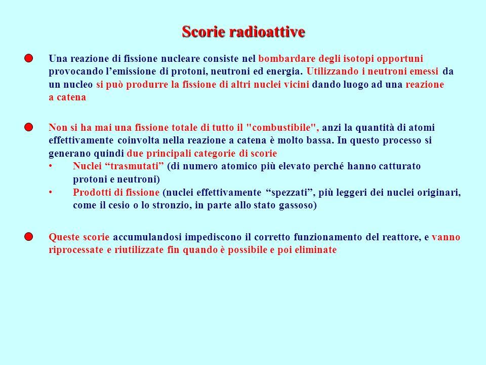 Scorie radioattive Una reazione di fissione nucleare consiste nel bombardare degli isotopi opportuni.
