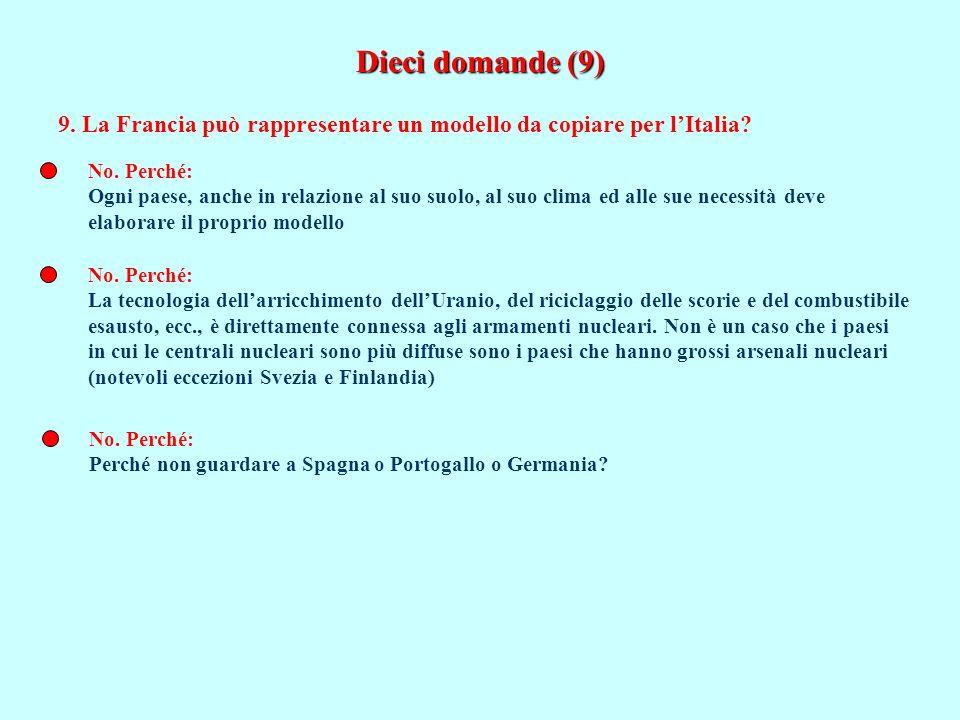 Dieci domande (9) 9. La Francia può rappresentare un modello da copiare per l'Italia No. Perché: