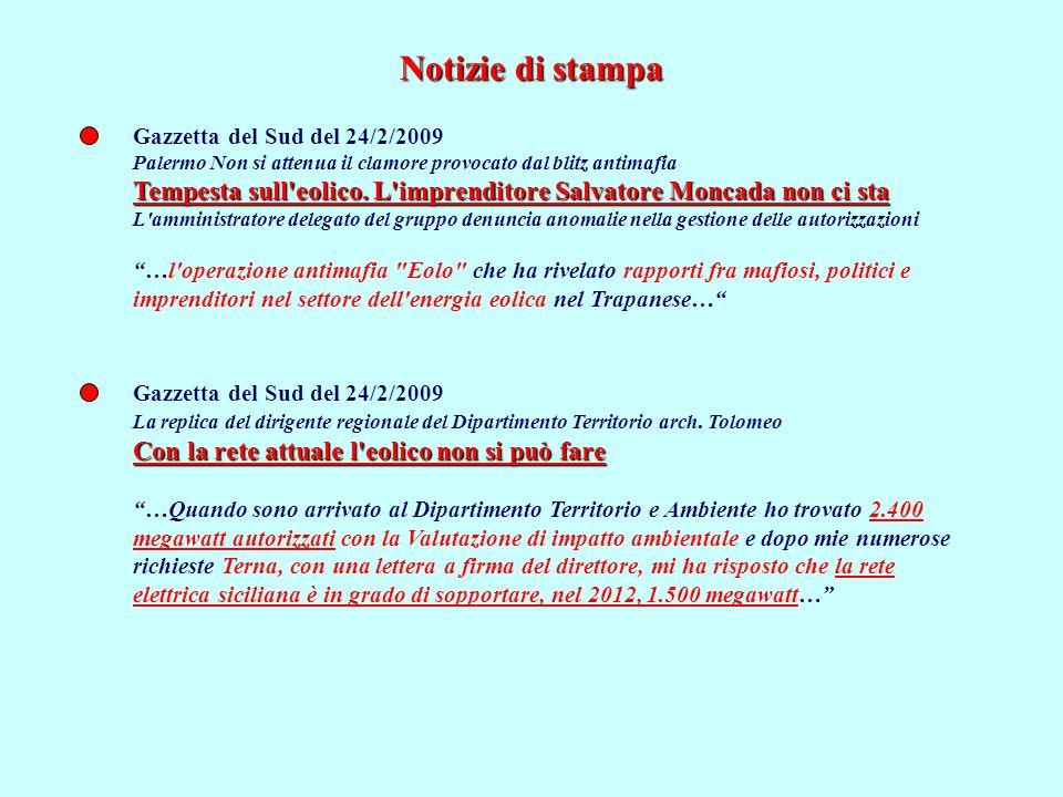 Notizie di stampa Gazzetta del Sud del 24/2/2009. Palermo Non si attenua il clamore provocato dal blitz antimafia.