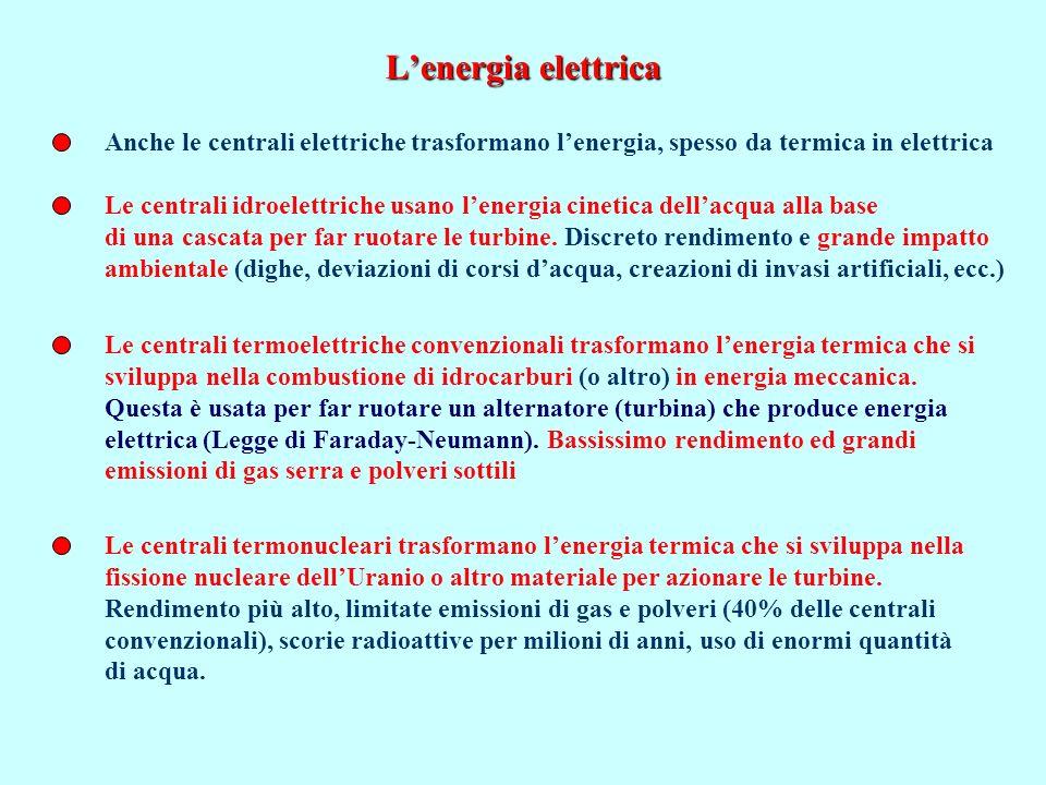 L'energia elettrica Anche le centrali elettriche trasformano l'energia, spesso da termica in elettrica.