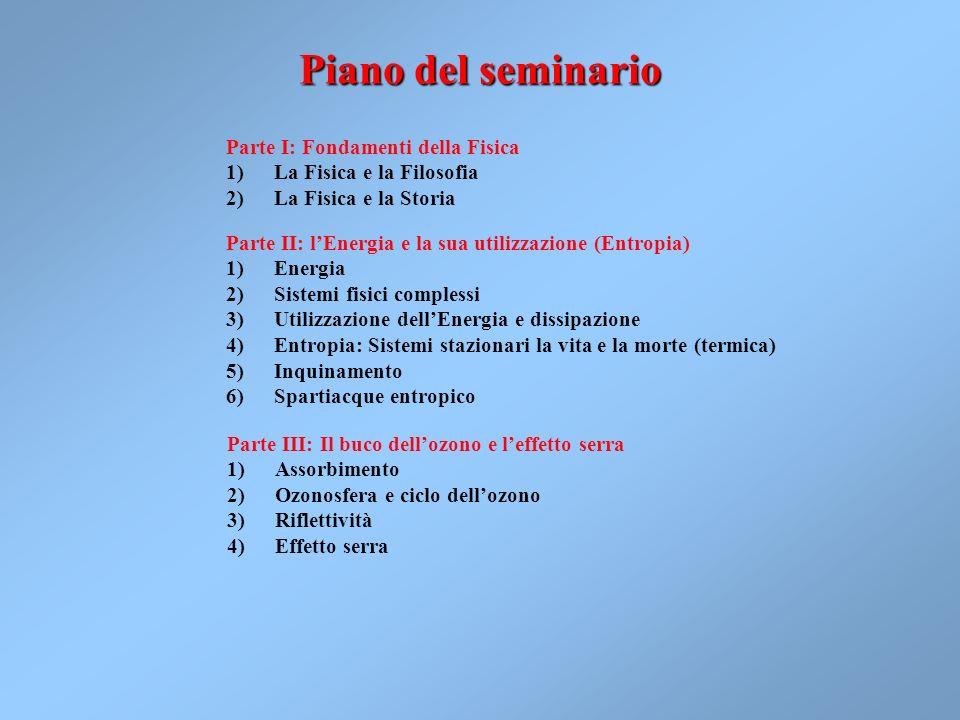 Piano del seminario Parte I: Fondamenti della Fisica