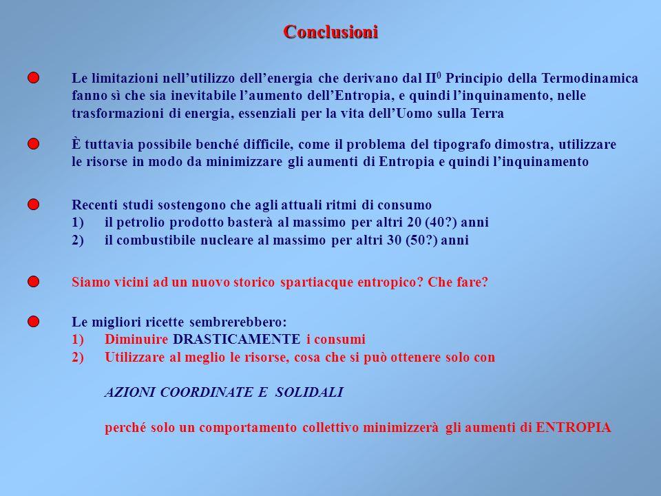 ConclusioniLe limitazioni nell'utilizzo dell'energia che derivano dal II0 Principio della Termodinamica.