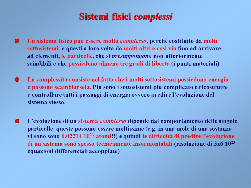 Sistemi fisici complessi