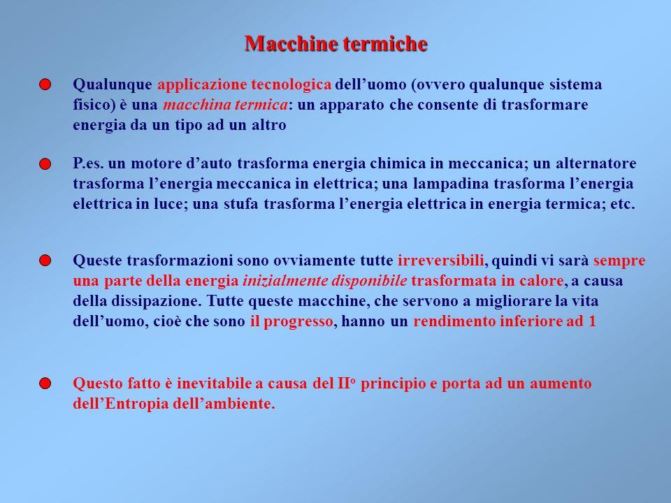 Macchine termiche Qualunque applicazione tecnologica dell'uomo (ovvero qualunque sistema.