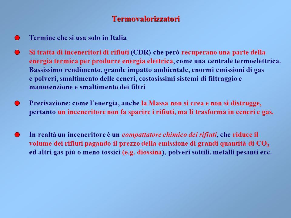 Termovalorizzatori Termine che si usa solo in Italia