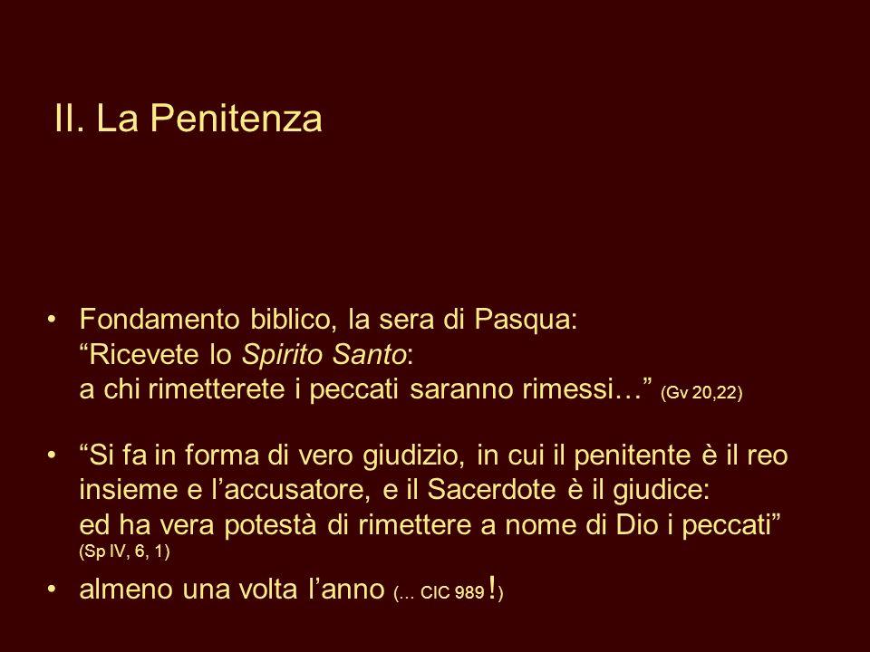 II. La Penitenza Fondamento biblico, la sera di Pasqua: Ricevete lo Spirito Santo: a chi rimetterete i peccati saranno rimessi… (Gv 20,22)