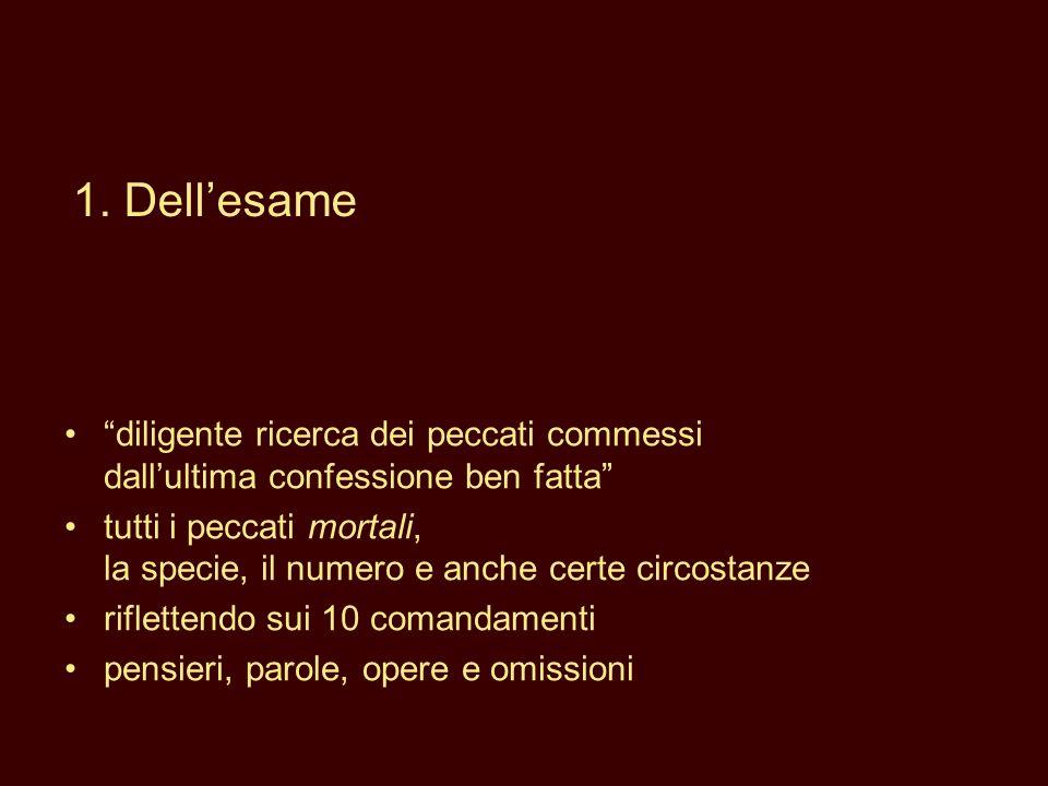 1. Dell'esame diligente ricerca dei peccati commessi dall'ultima confessione ben fatta