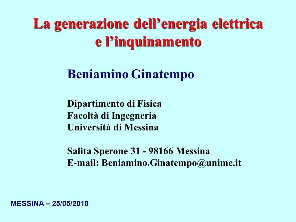 La generazione dell'energia elettrica e l'inquinamento