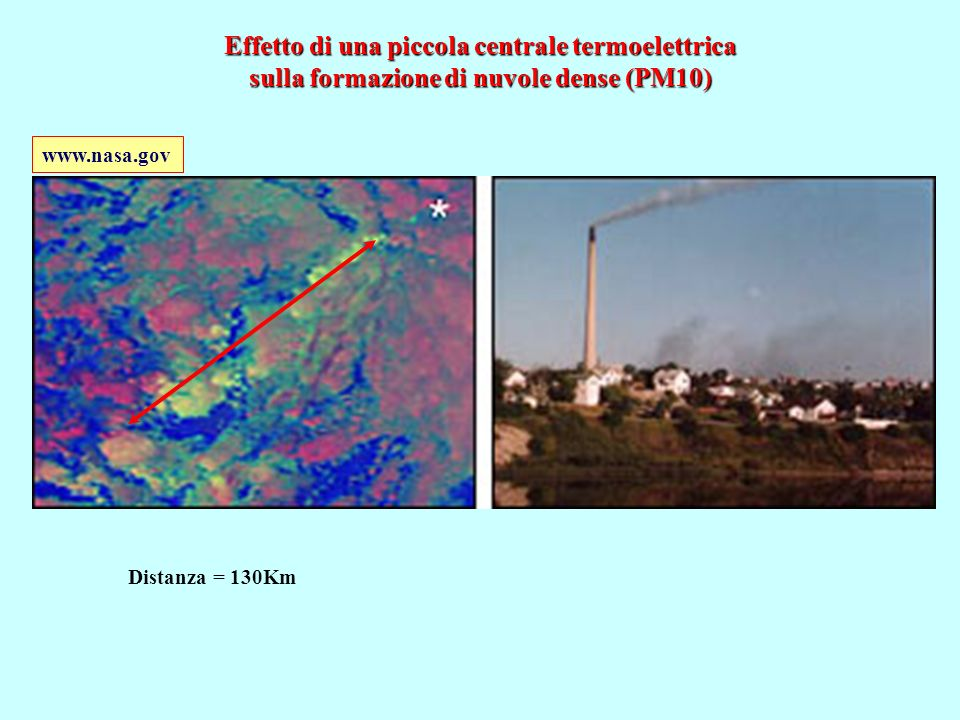 Effetto di una piccola centrale termoelettrica sulla formazione di nuvole dense (PM10)