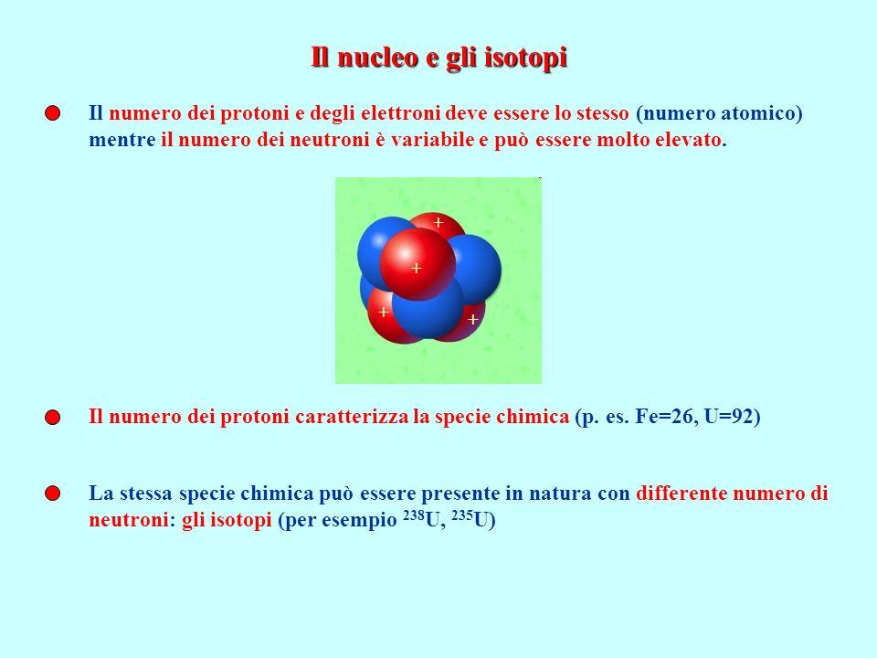 Il nucleo e gli isotopi Il numero dei protoni e degli elettroni deve essere lo stesso (numero atomico)