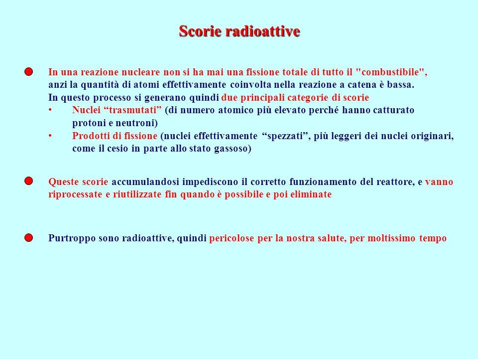 Scorie radioattive In una reazione nucleare non si ha mai una fissione totale di tutto il combustibile ,