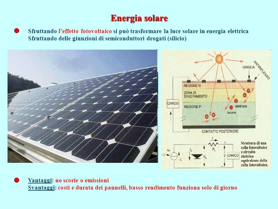 Energia solare Sfruttando l'effetto fotovoltaico si può trasformare la luce solare in energia elettrica.