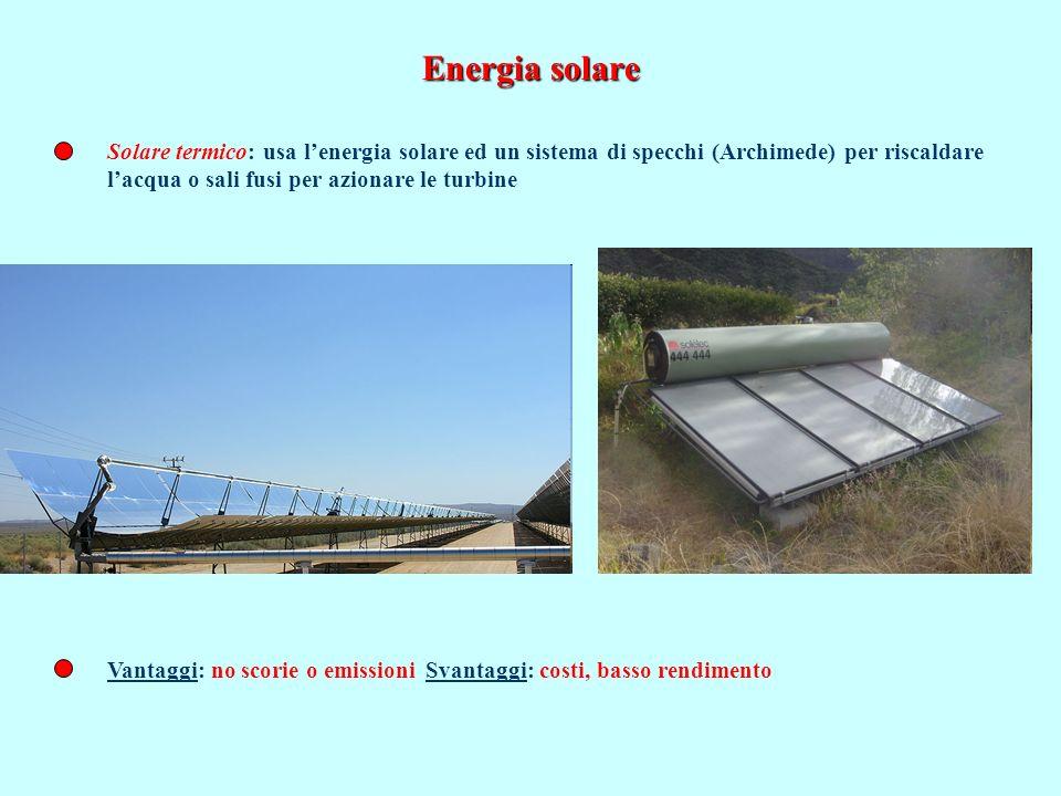 Energia solare Solare termico: usa l'energia solare ed un sistema di specchi (Archimede) per riscaldare.