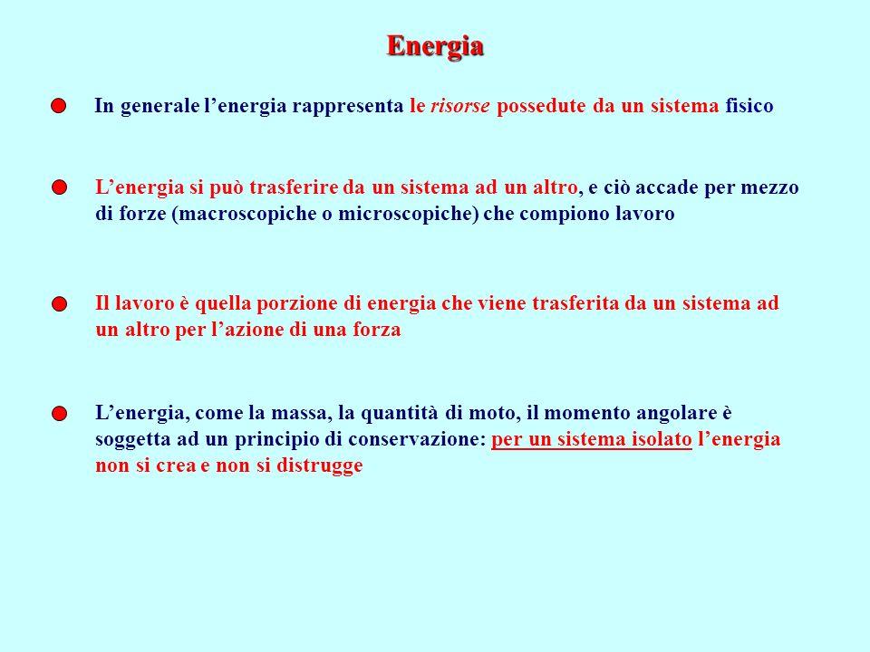 Energia In generale l'energia rappresenta le risorse possedute da un sistema fisico.