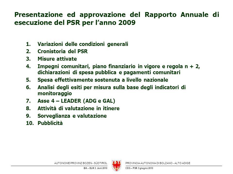 Presentazione ed approvazione del Rapporto Annuale di esecuzione del PSR per l'anno 2009