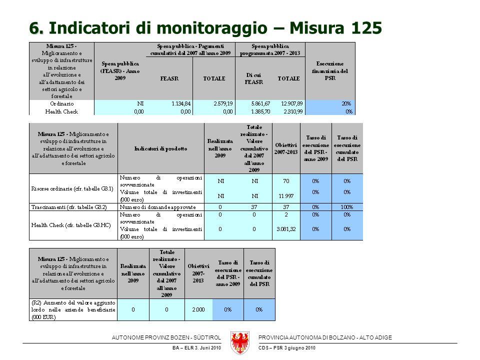 6. Indicatori di monitoraggio – Misura 125