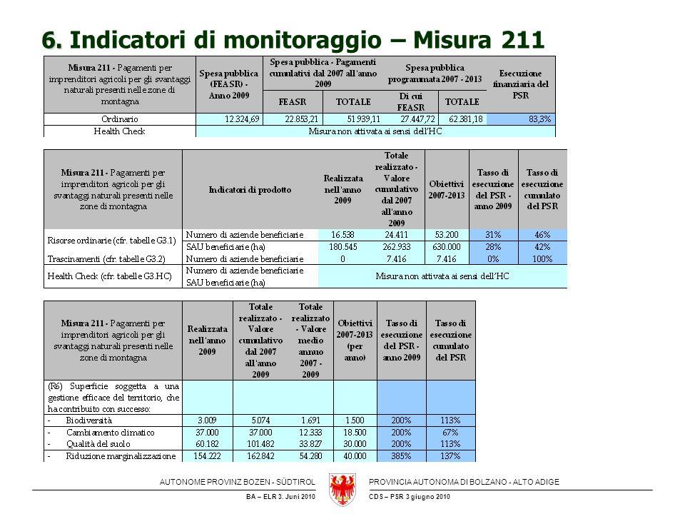 6. Indicatori di monitoraggio – Misura 211