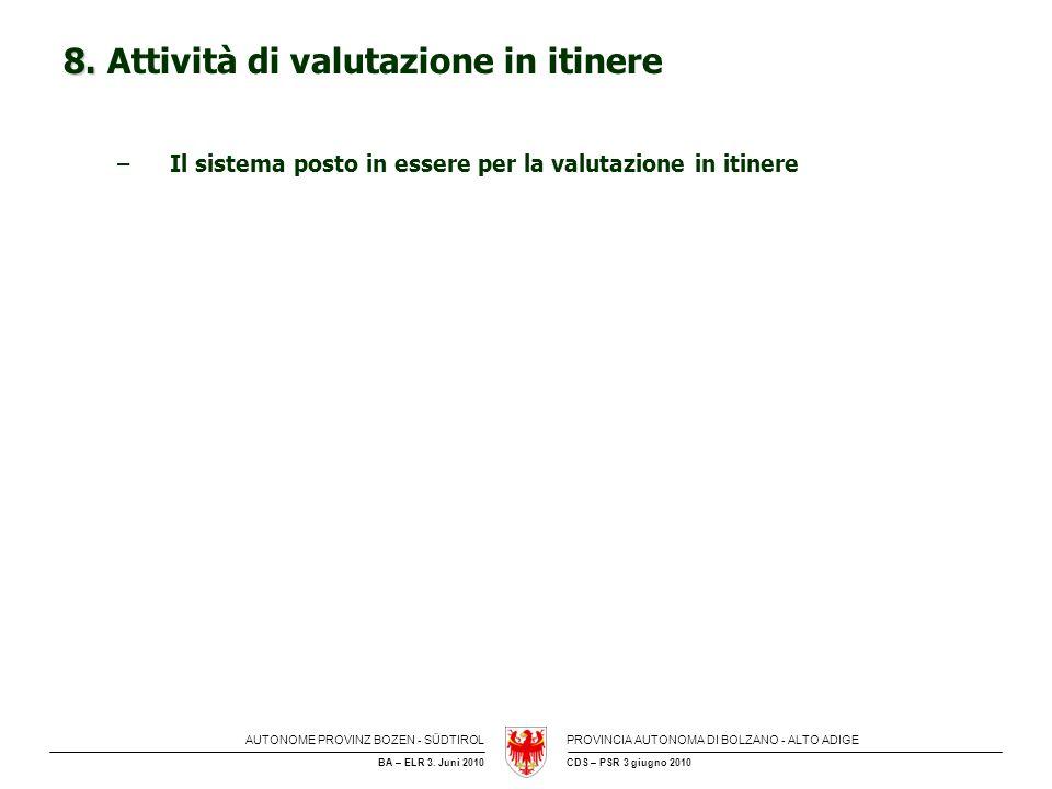 8. Attività di valutazione in itinere