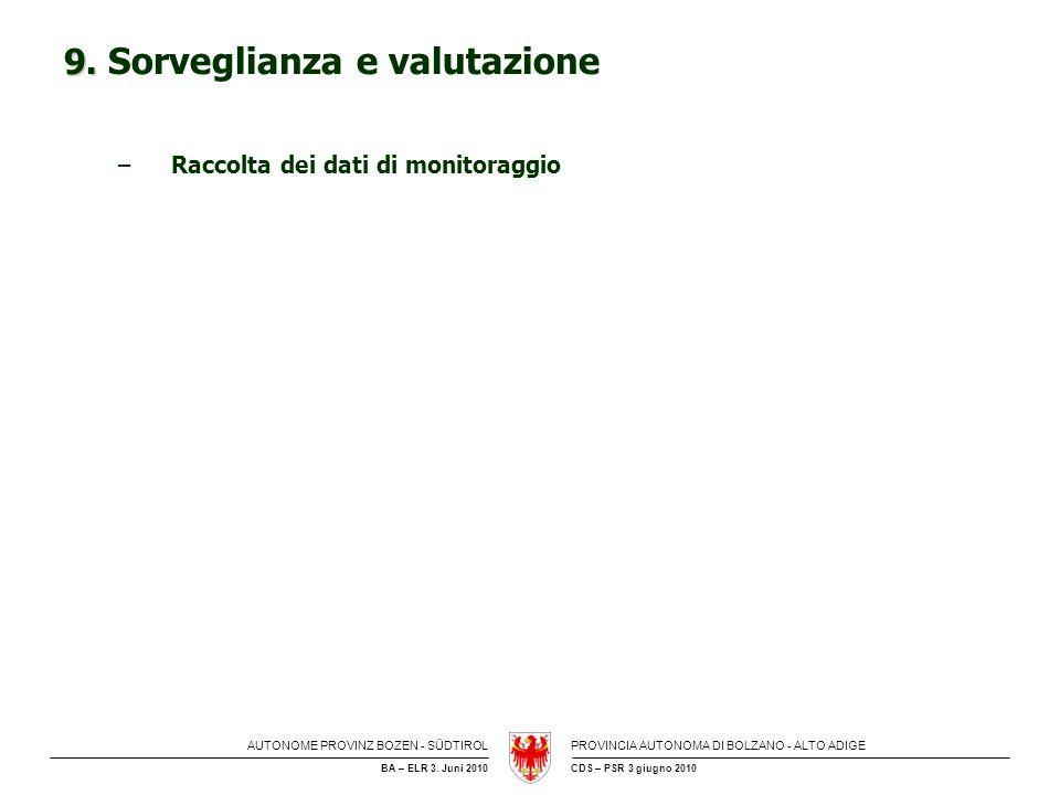 9. Sorveglianza e valutazione