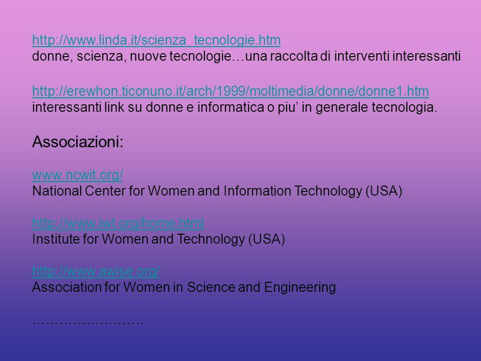 Associazioni: http://www.linda.it/scienza_tecnologie.htm