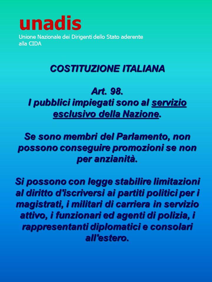 unadis COSTITUZIONE ITALIANA Art. 98.