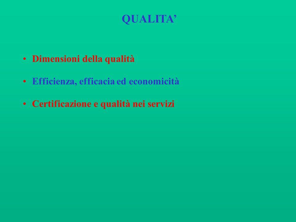 QUALITA' Dimensioni della qualità Efficienza, efficacia ed economicità