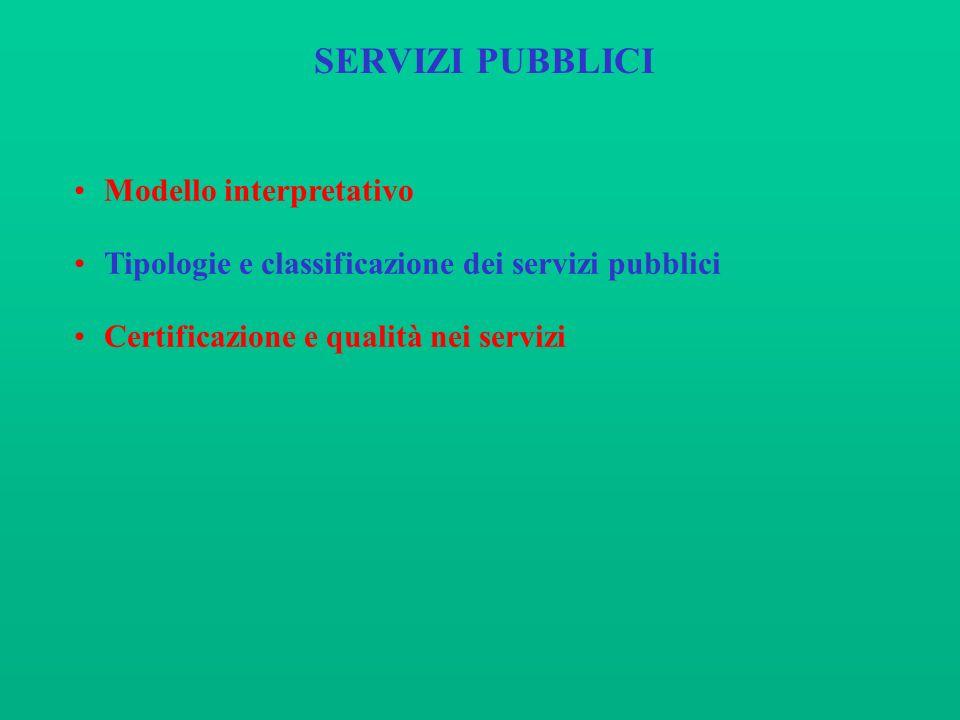 SERVIZI PUBBLICI Modello interpretativo