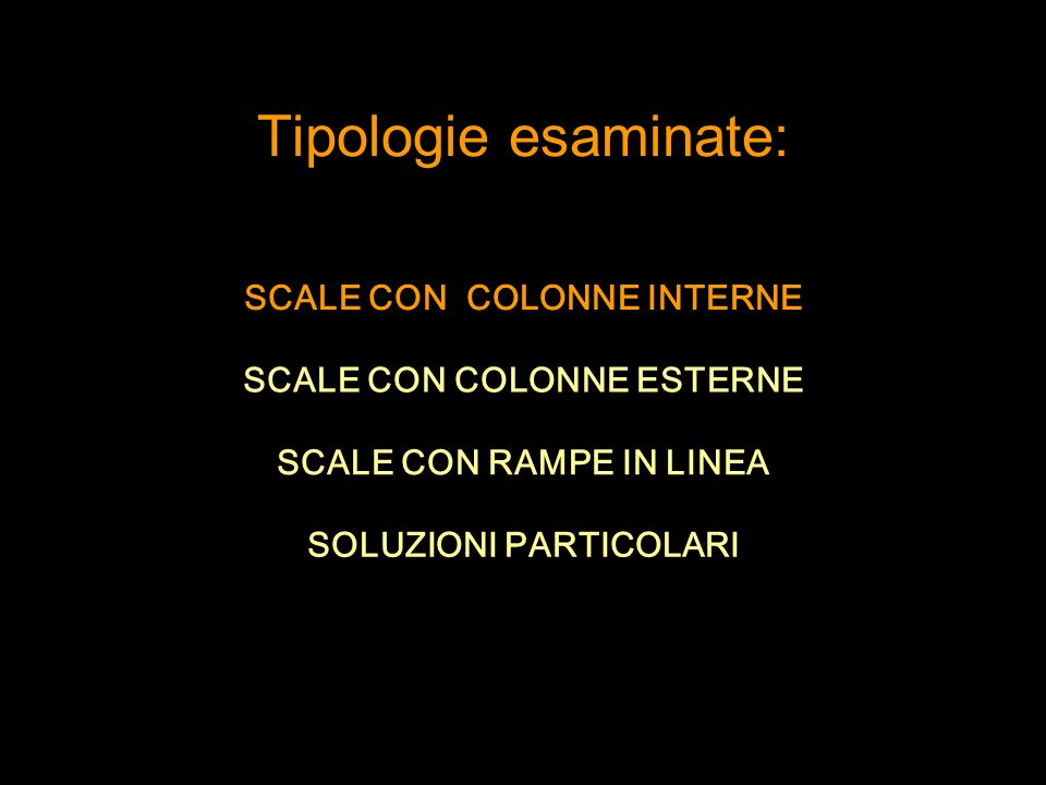 Tipologie esaminate: SCALE CON COLONNE INTERNE