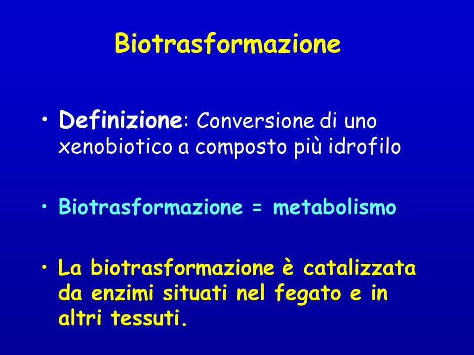 Biotrasformazione Definizione: Conversione di uno xenobiotico a composto più idrofilo. Biotrasformazione = metabolismo.