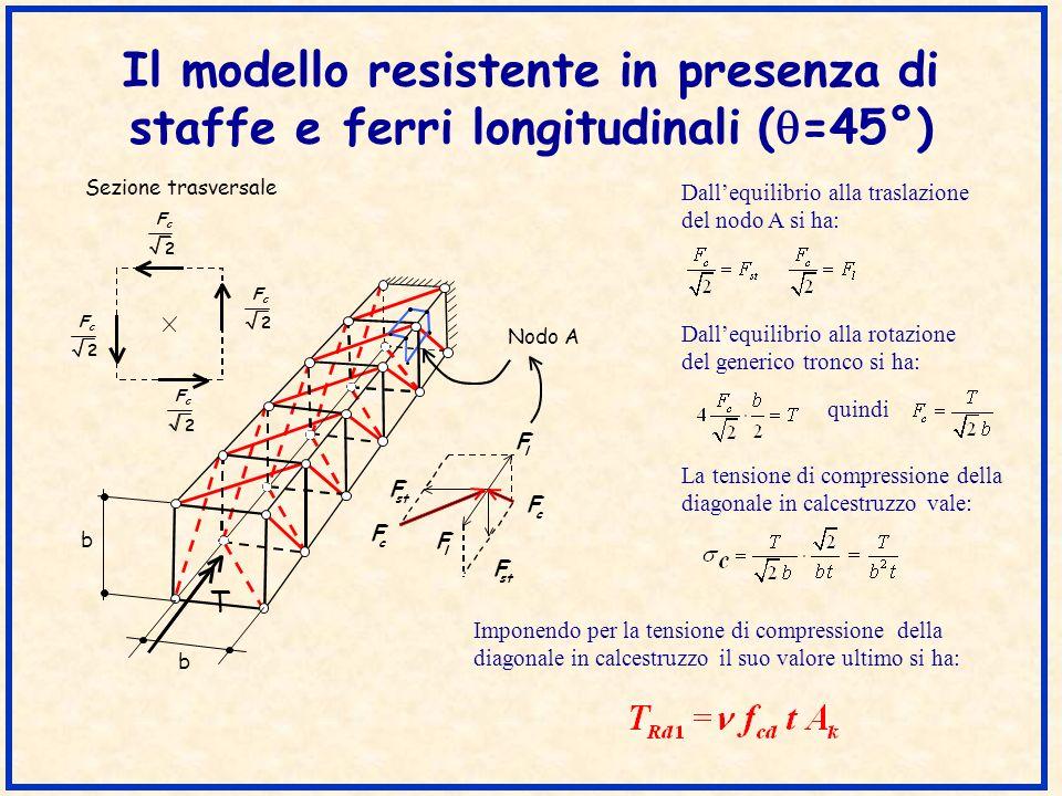 Il modello resistente in presenza di staffe e ferri longitudinali (q=45°)