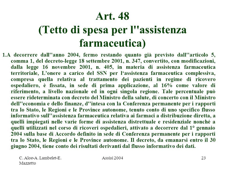 Art. 48 (Tetto di spesa per l assistenza farmaceutica)