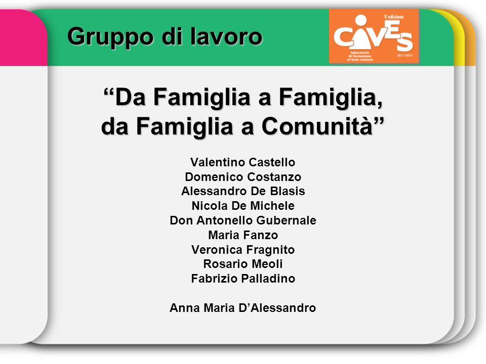 Gruppo di lavoro Da Famiglia a Famiglia, da Famiglia a Comunità