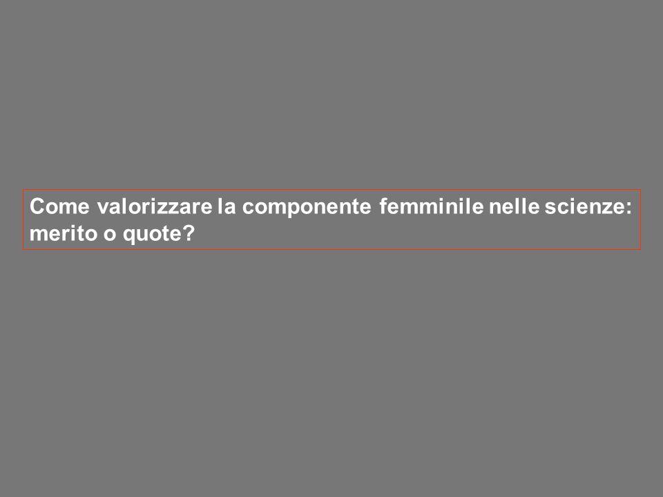 Come valorizzare la componente femminile nelle scienze: merito o quote