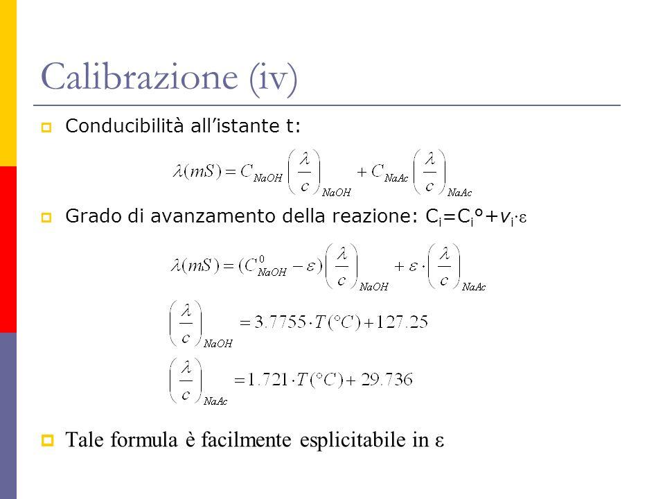 Calibrazione (iv) Tale formula è facilmente esplicitabile in ε