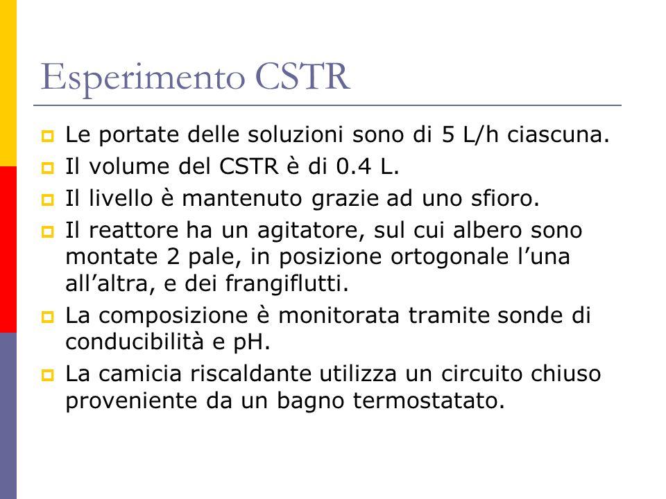 Esperimento CSTR Le portate delle soluzioni sono di 5 L/h ciascuna.